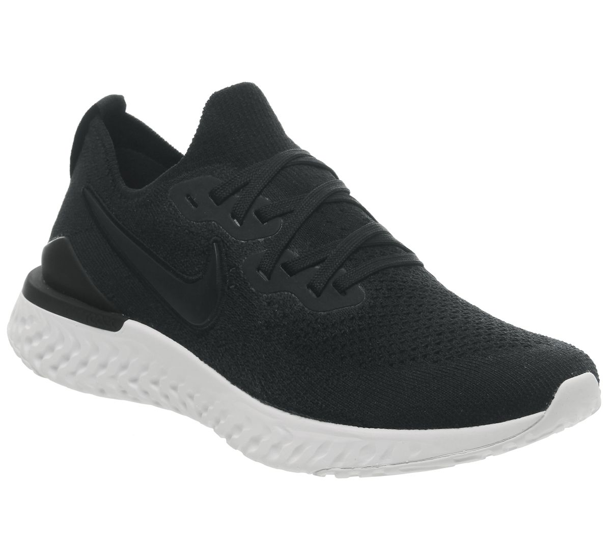 cff2acc5ad42a Nike Epic React Flyknit Trainers Black White - Hers trainers