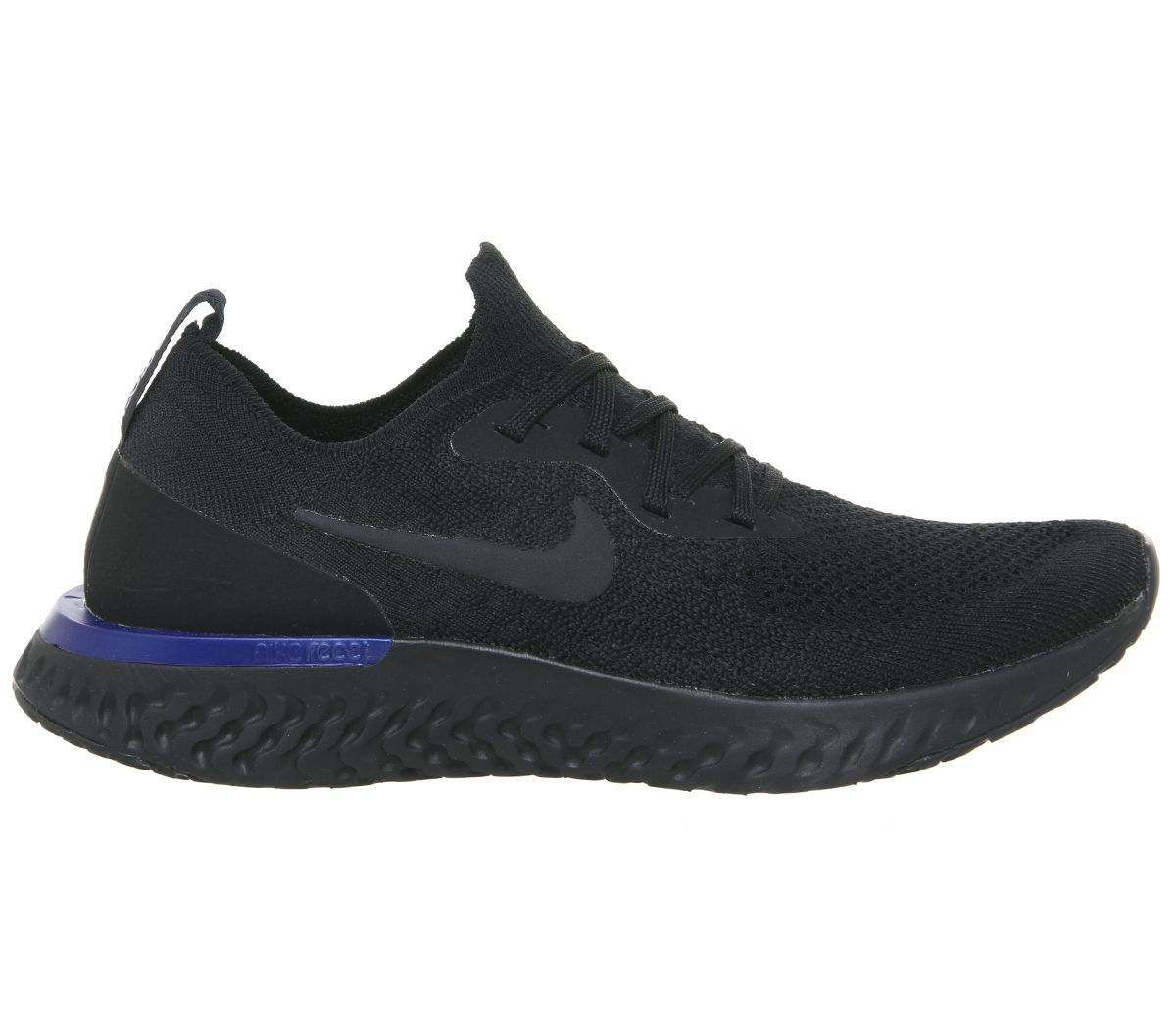 a84153a8f221c Nike Epic React Flyknit Trainers Black Racer Blue - Hers trainers