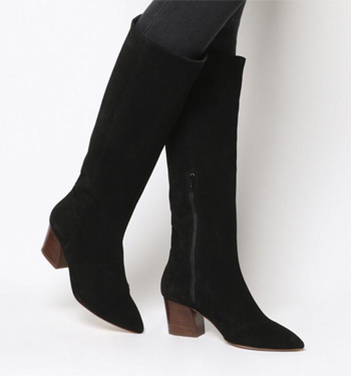 f942aae00f5b1 24-09-2018 · Office Kosmo Curved Heel Knee Boots Black Suede