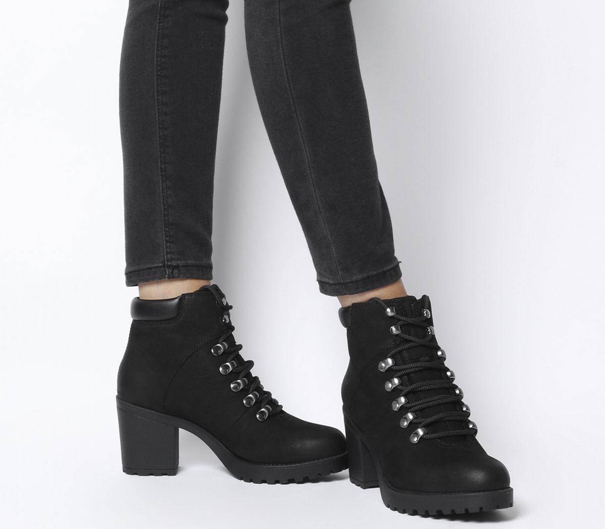 948aacea52987c Vagabond Grace Lace Heel Block Boots Black Nubuck - Ankle Boots