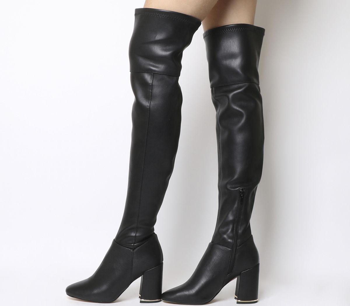 b2609399915 Office Katch Block Heel Over The Knee Boots Black - Knee Boots