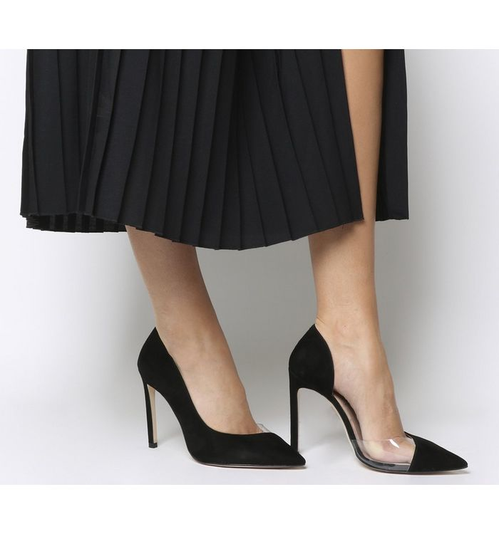 8917a13ce01 Office Alive Perspex Point Court Heels Black Suede - High Heels