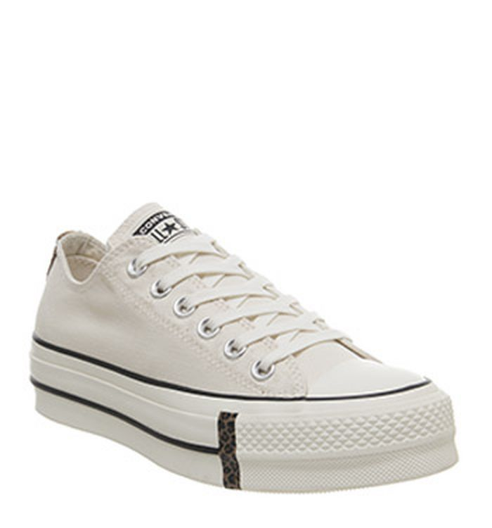 81828828661c61 Launching 11-04-2019 · Converse All Star Lift Low Leather Natural Ivory  Egret Animal Exclusive