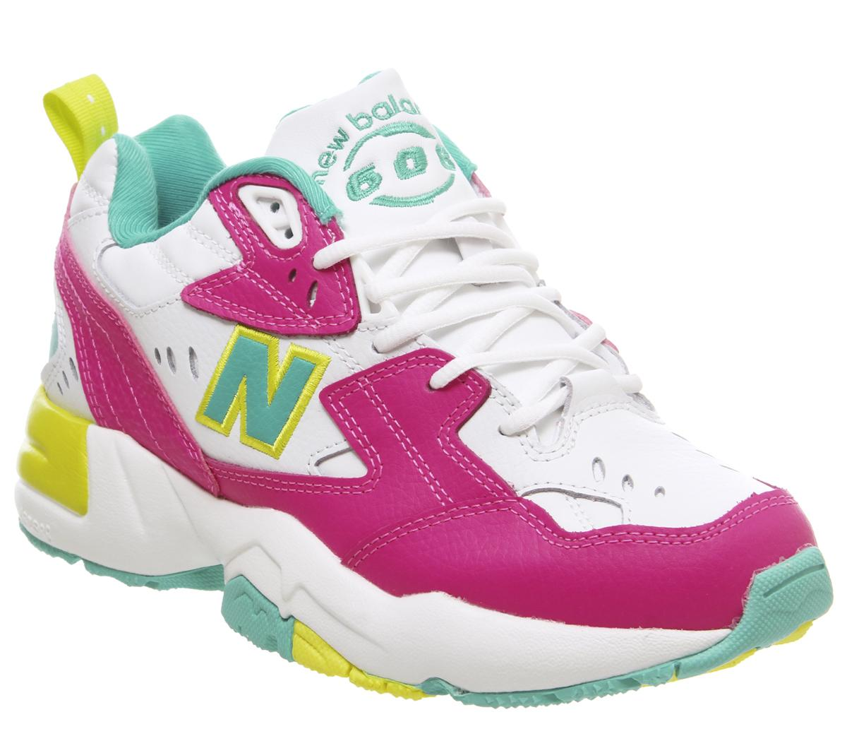 New Balance 608 Trainers White Fuschia Pink Lime Green