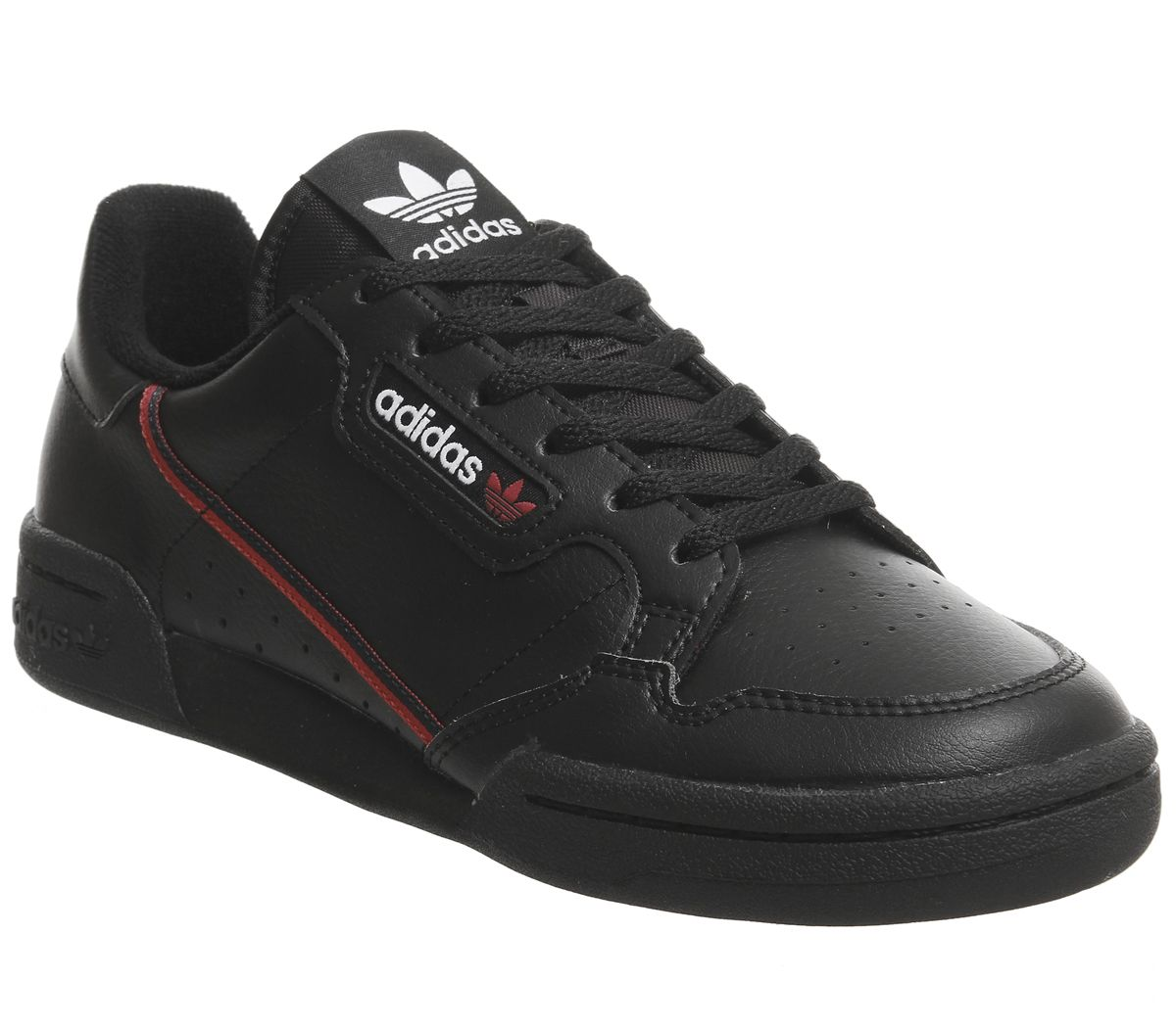 new product 38e2c e8bf1 adidas Continental 80s Junior Trainers Core Black Scarlet ...