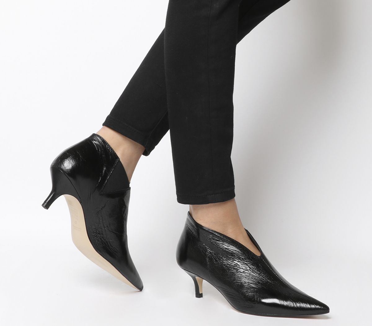 78a01917aa97 Office Me Low Shoe Boots Black Leather - Mid Heels