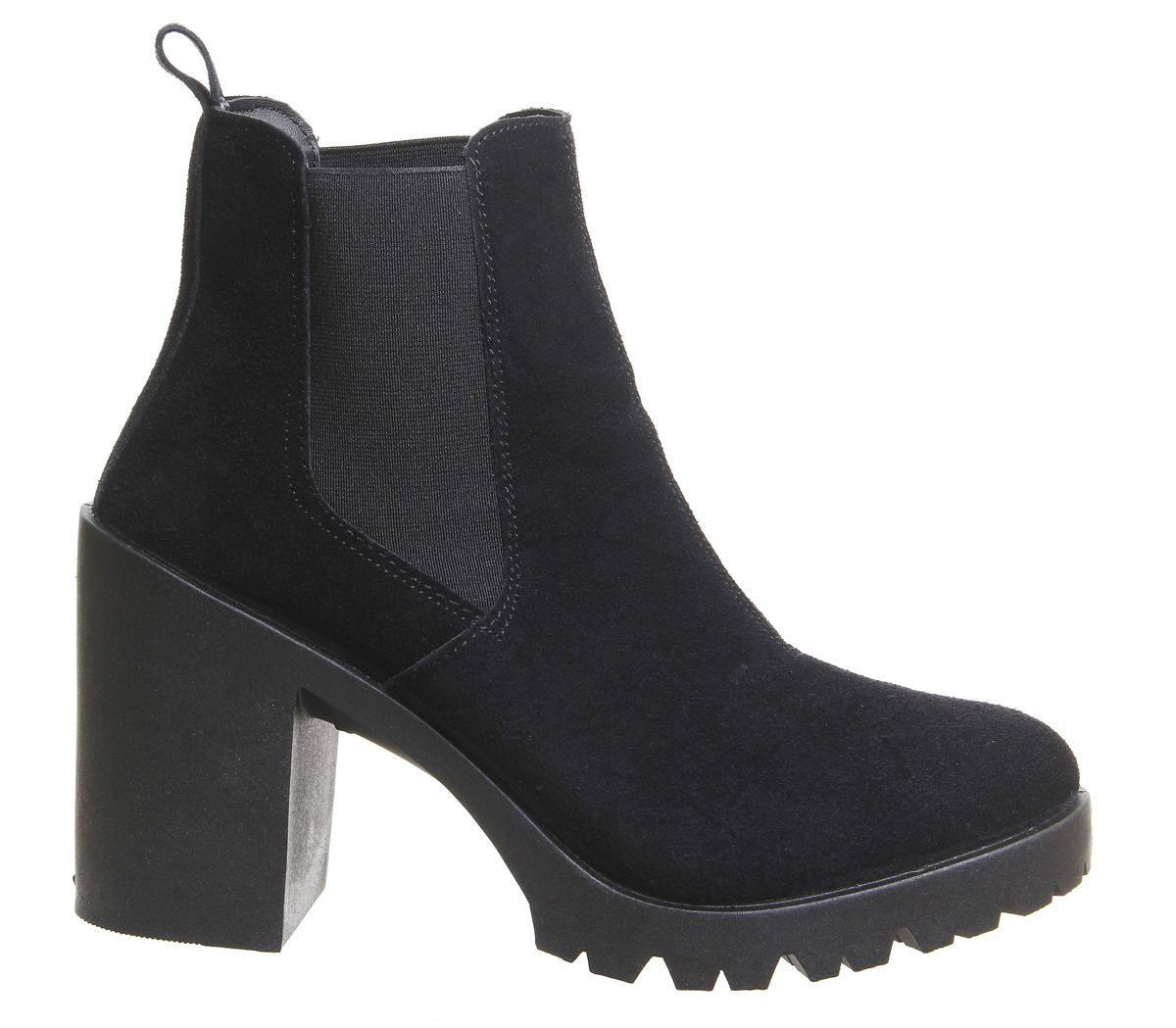 0f1b306e215 Office Ashlyn Chunky Heeled Chelsea Boots Black Suede - Ankle Boots