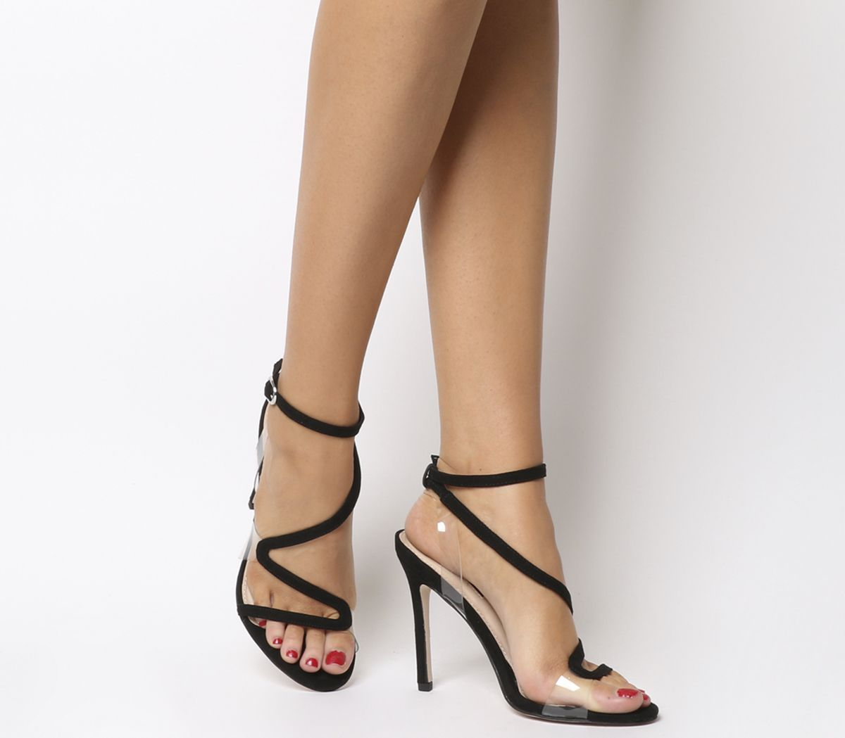 27081b16e37 Office Hotel Asymmetric Strappy Heels Black - High Heels