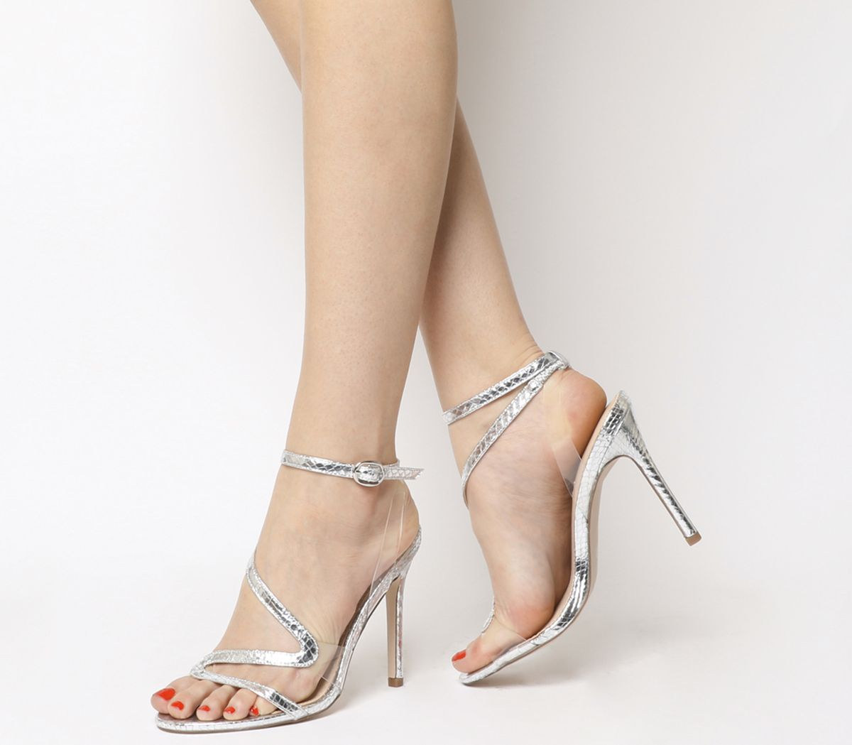 b5d598da753 Office Hotel Asymmetric Strappy Heels Silver Snake - High Heels