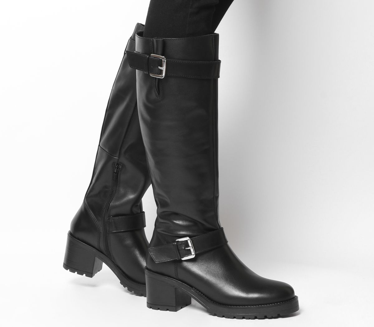 207f9a76de1e Office Kadi Casual Mid Buckle Knee Boots Black Leather - Knee Boots