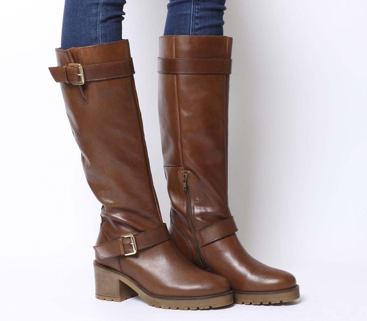 2687a5d88d41 Office Kadi Casual Mid Buckle Knee Boots Tan Leather - Womens Boots