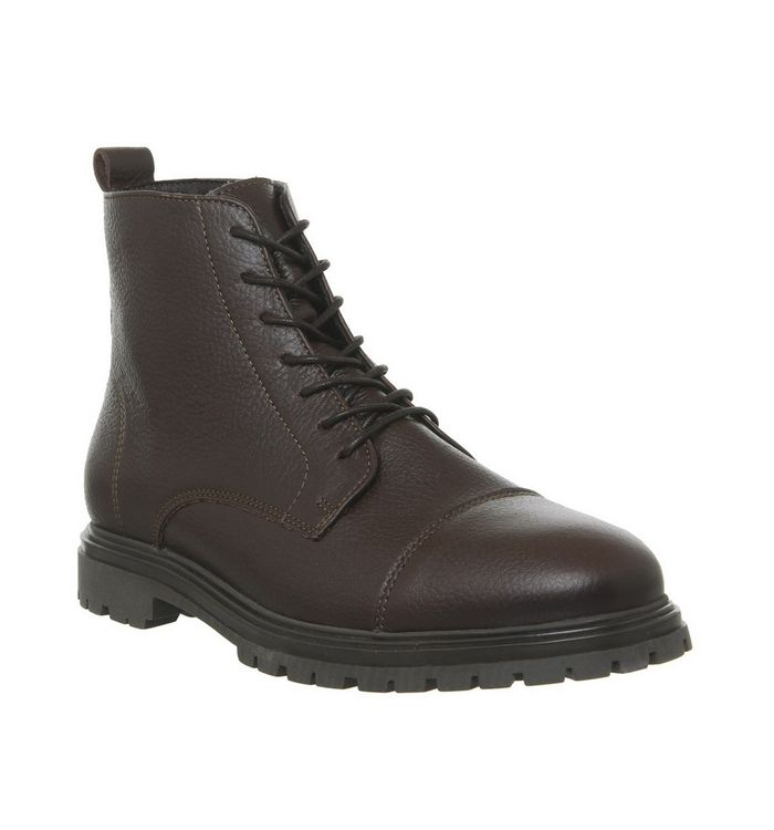 ask the missus isolate toecap lace boot choc leather