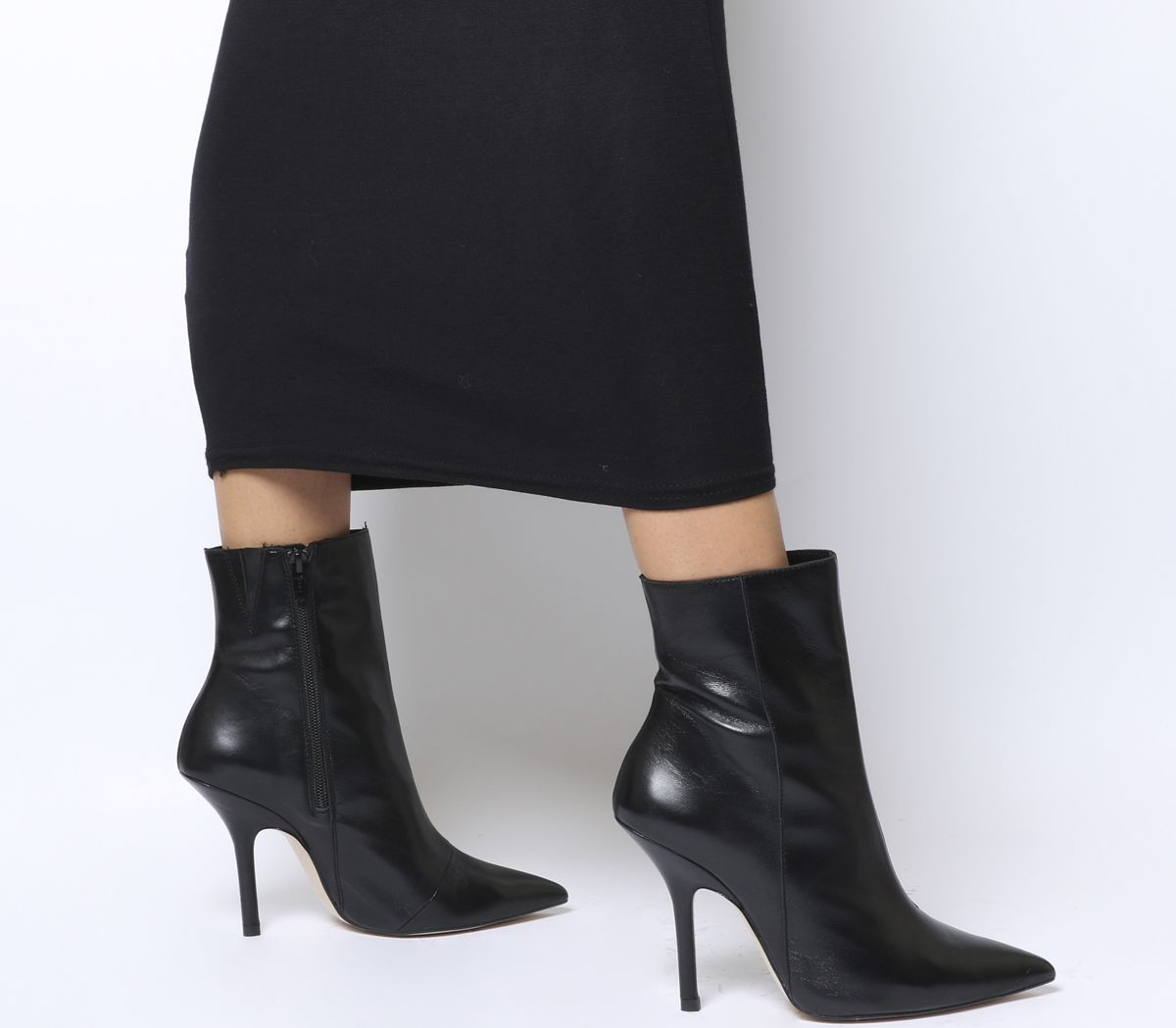 af1379c59fa Office Ambitious Extreme Point Stiletto Boots Black Leather - Ankle ...