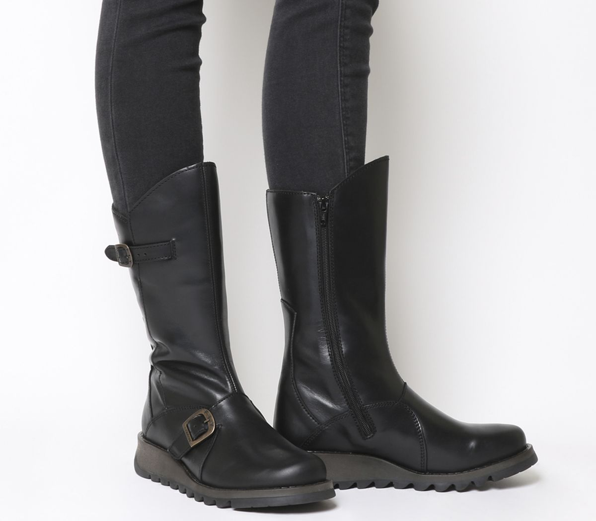 7577e7cbee6bc Fly London Mes 2 Boots Black Rug Leather - Knee Boots