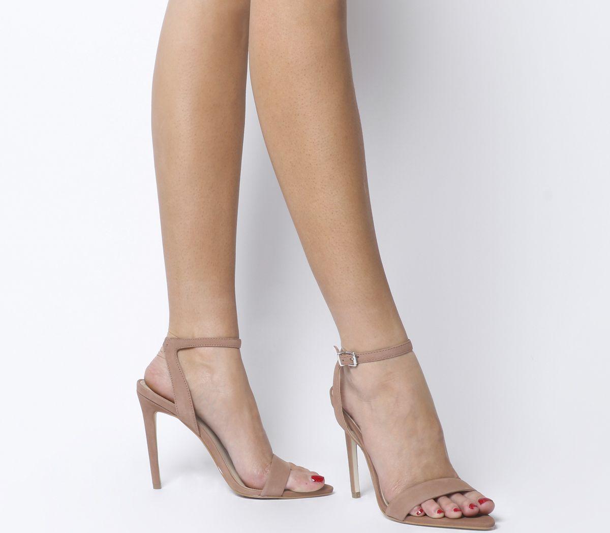 cc315526519 Office Hemlock Two Part Pointed Sandal Heels Dark Nude Nubuck - High ...