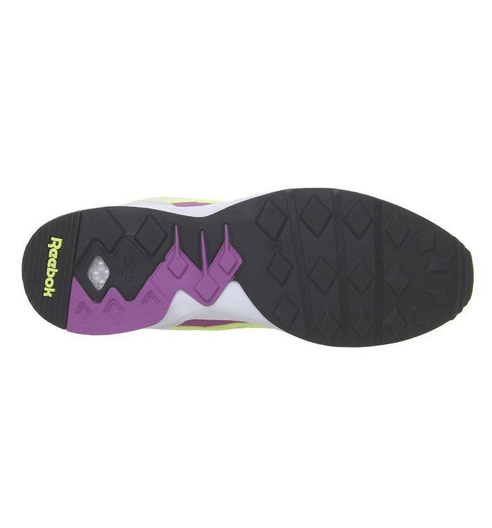 0f33f7774d3 Reebok Pyro Trainers White Vicious Violet Neon Yellow - Hers trainers