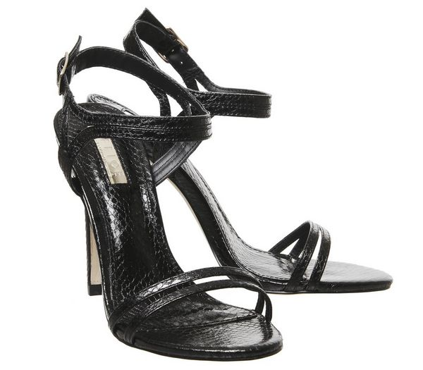 Office Hot Cake Strappy Sandal Heels Black Snake - High Heels KsUSxE5