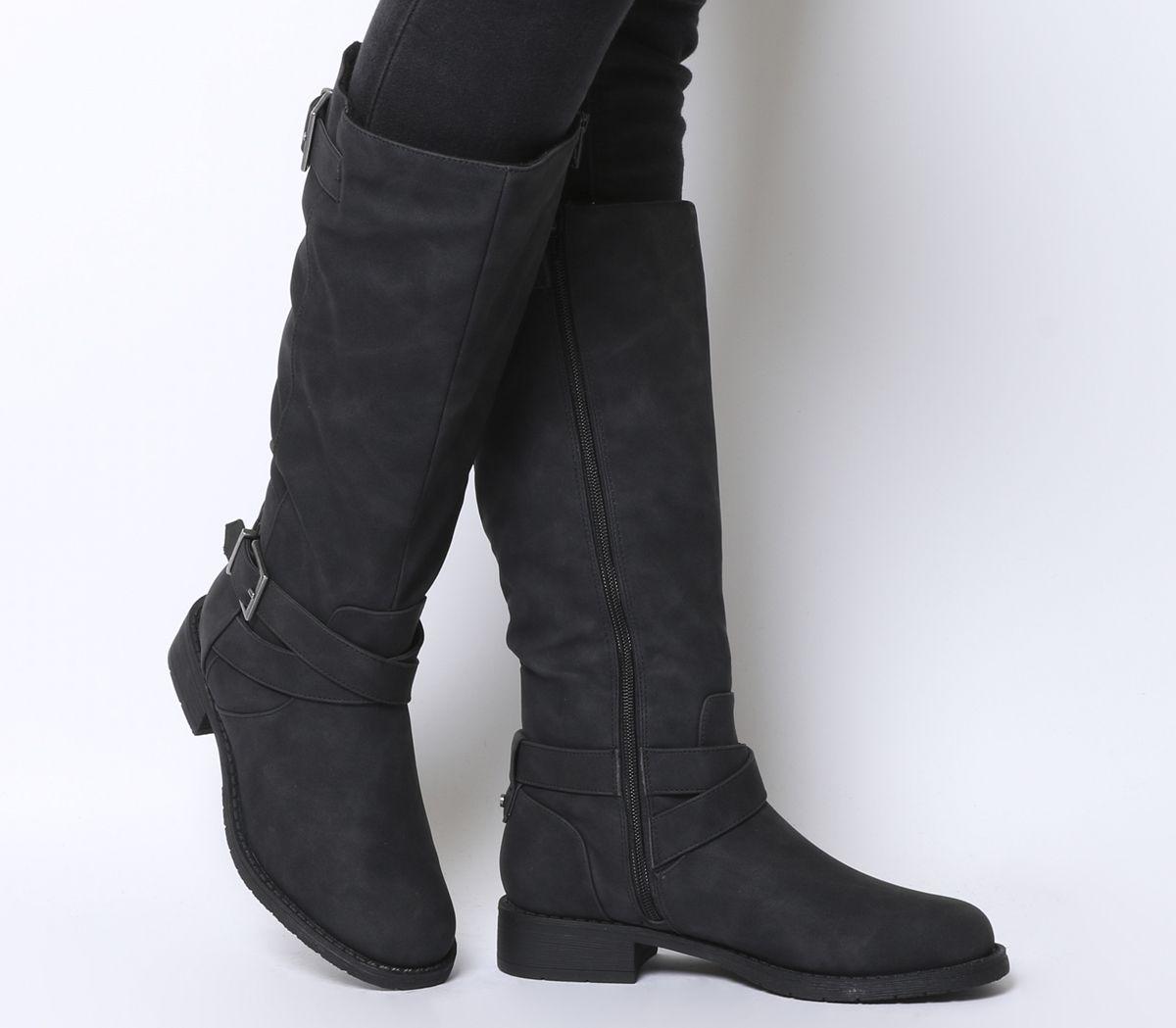 e738e72f7b4 Office Kamel Biker Knee Boots Black Fur Lined - Womens Boots