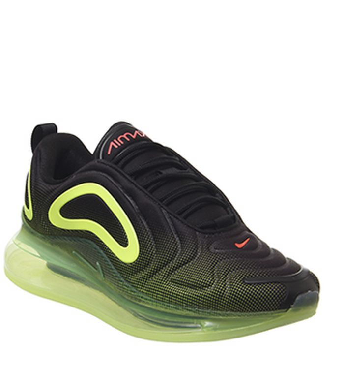 638aca1295fe Launching 11-04-2019. Nike Air Max 720 Trainers Black Bright Crimson Volt