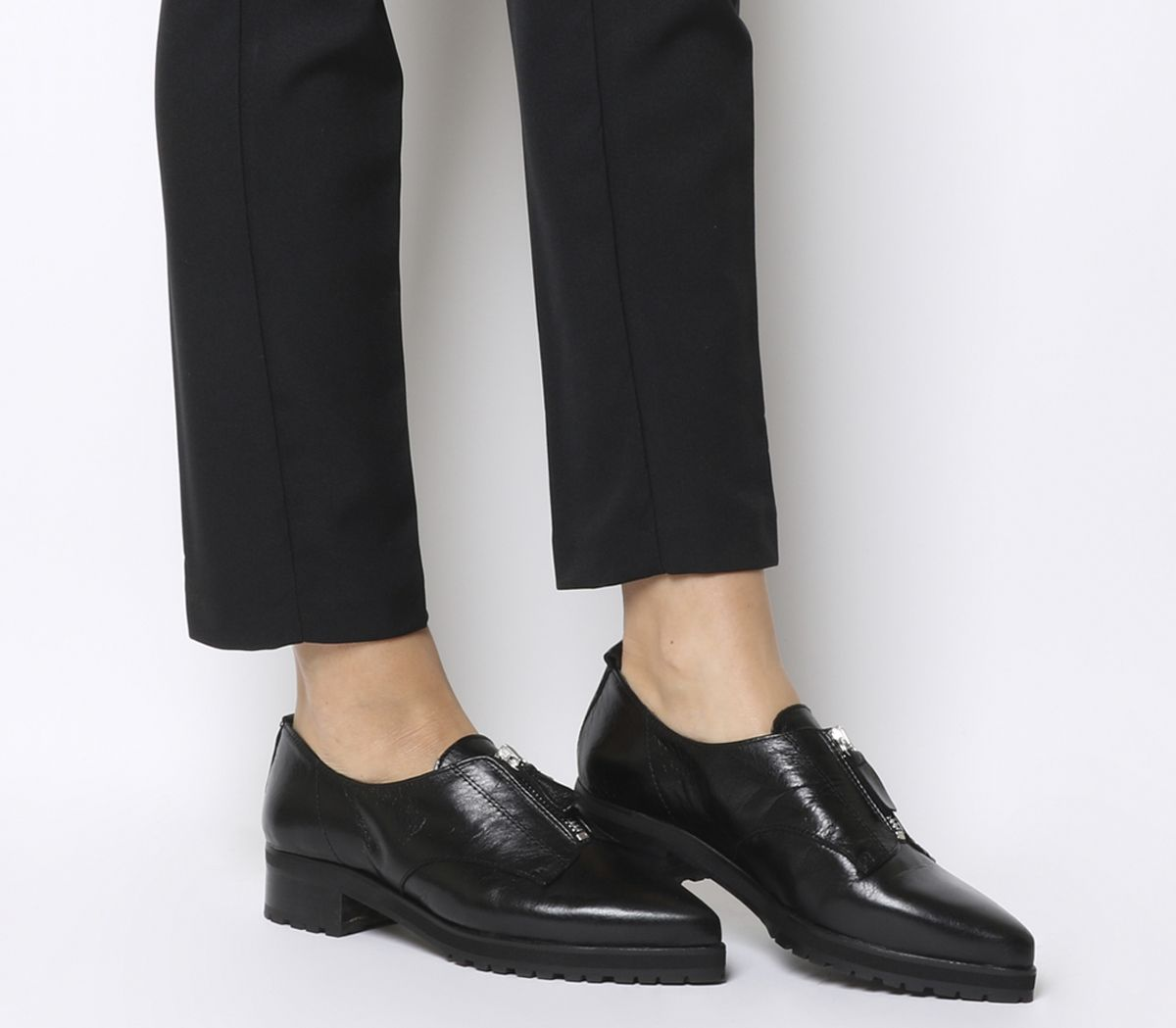 57ed3952813 Office Foster Zip Front Cleated Shoes Black Leather - Flats