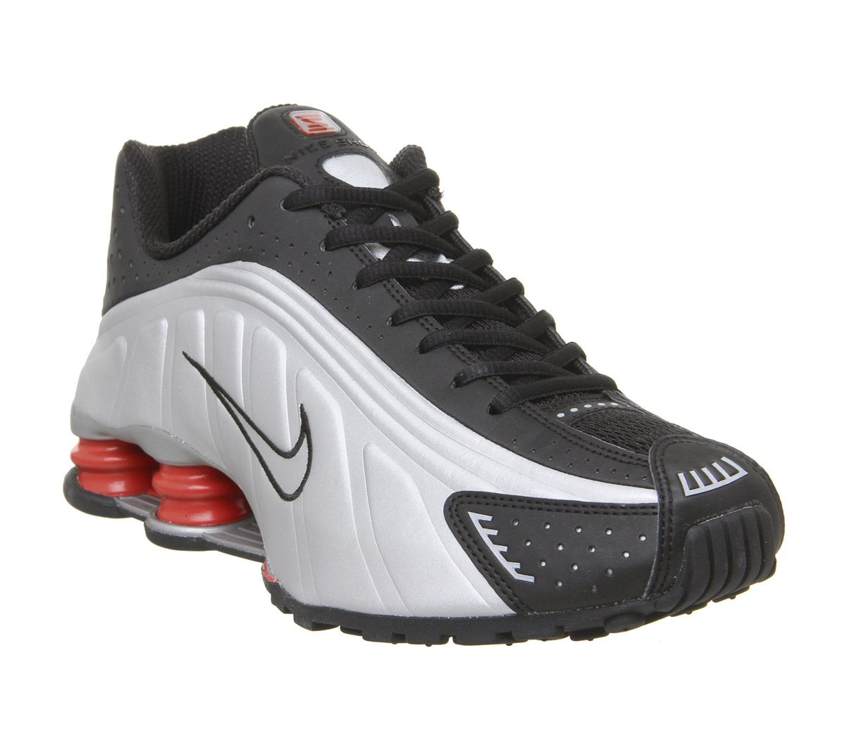 official photos fe0e2 5b2fc Nike Nike Shox R4 Trainers Black Metallic Silver Max Orange ...