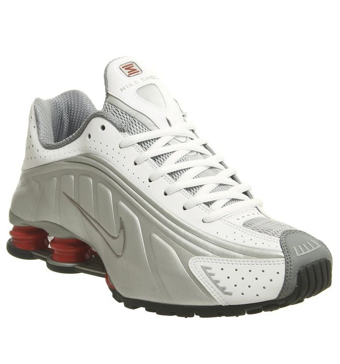 best website 59982 2f9a8 Nike Shox R4 Trainers  Nike, Nike Shox R4 Trainers, White Metallic Silver  Cement Red Black ...