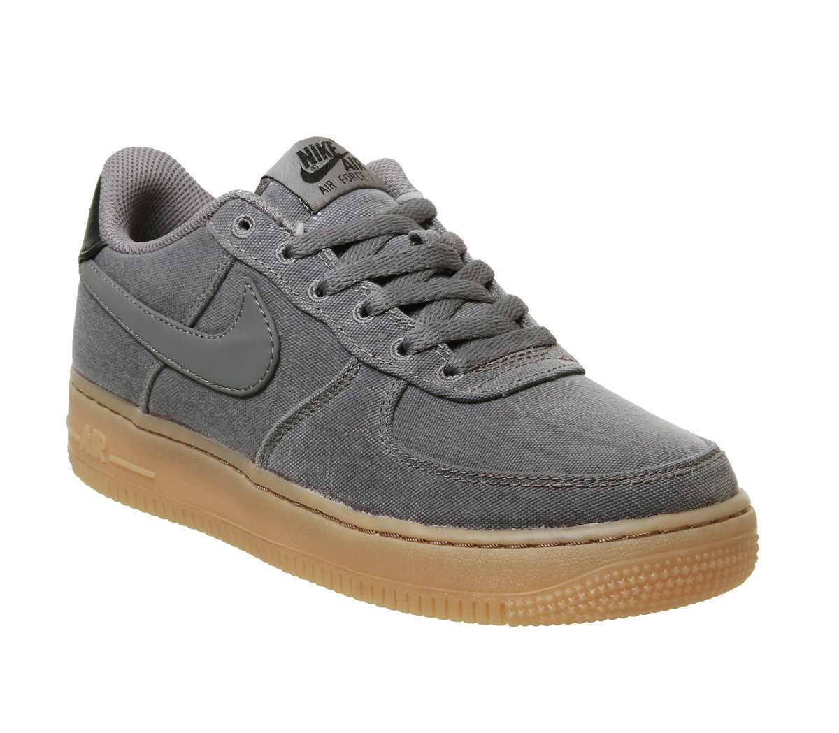 aac25bd5284 Nike Air Force 1 Lv8 Gs Trainers Flat Pewter Gum Med Brown - Hers ...