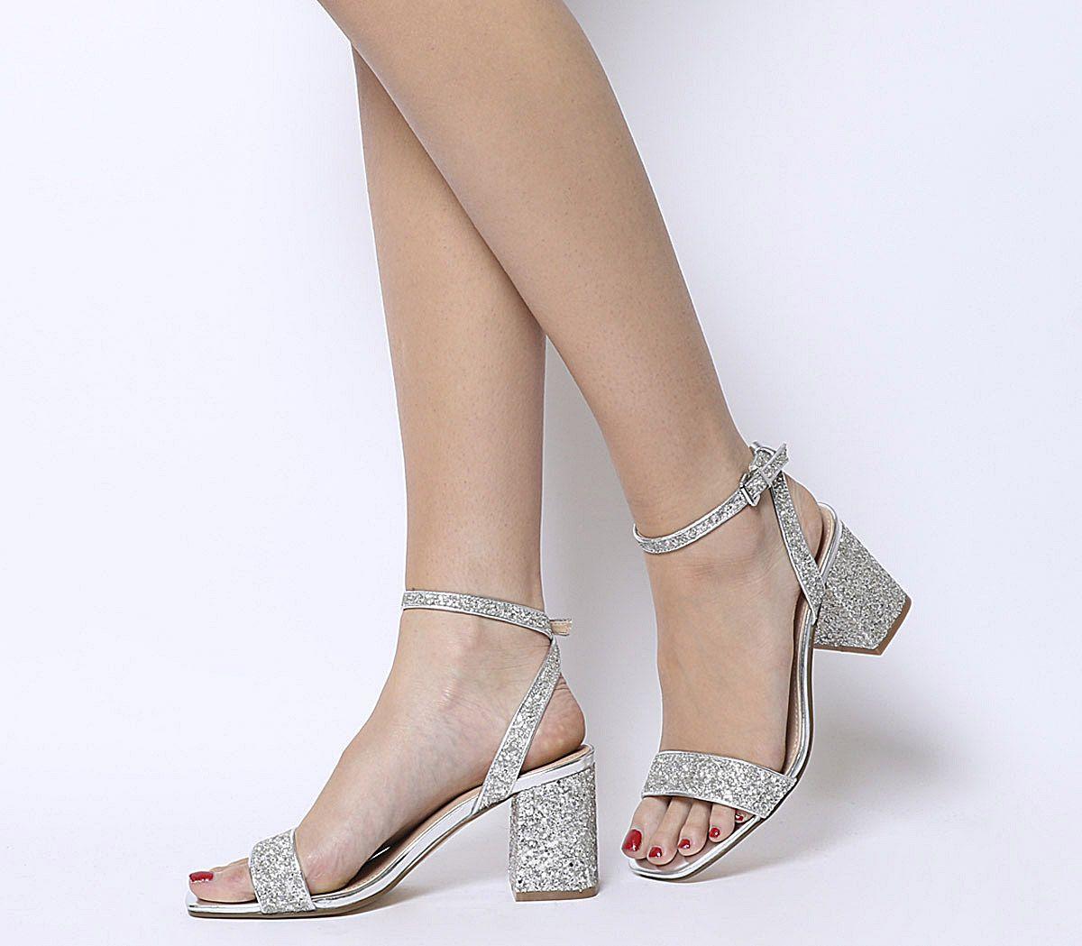 0a18d6f310f8 Office Millions Square Toe Two Part Heels Silver Glitter - Mid Heels
