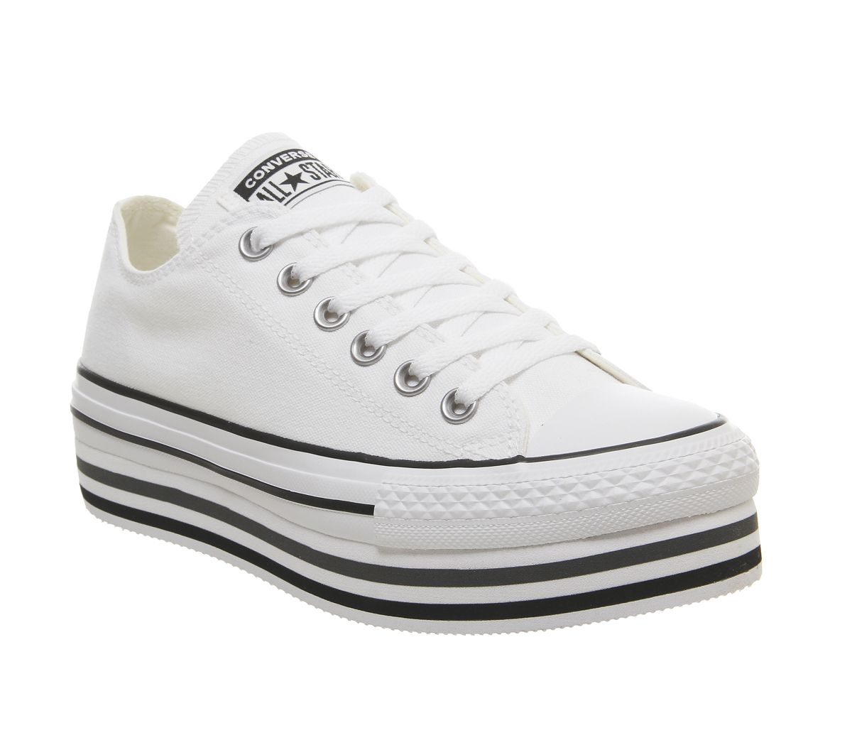 e11cf93d4383 Converse Chuck Taylor Platform Layer Ox Trainers White Black - Hers ...