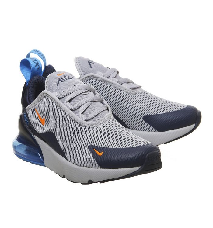 sports shoes 5b7cb baae2 Air Max 270 Ps Trainers  Nike, Air Max 270 Ps Trainers, Wolf Grey Total  Orange Midnight Navy ...