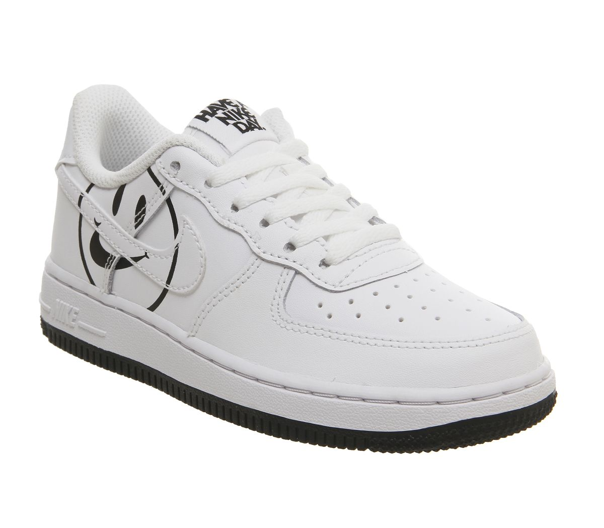 buy popular 837cc eaf87 Nike Air Force 1 Lv8 Ps Trainers White Black Smile - Kids Trainers