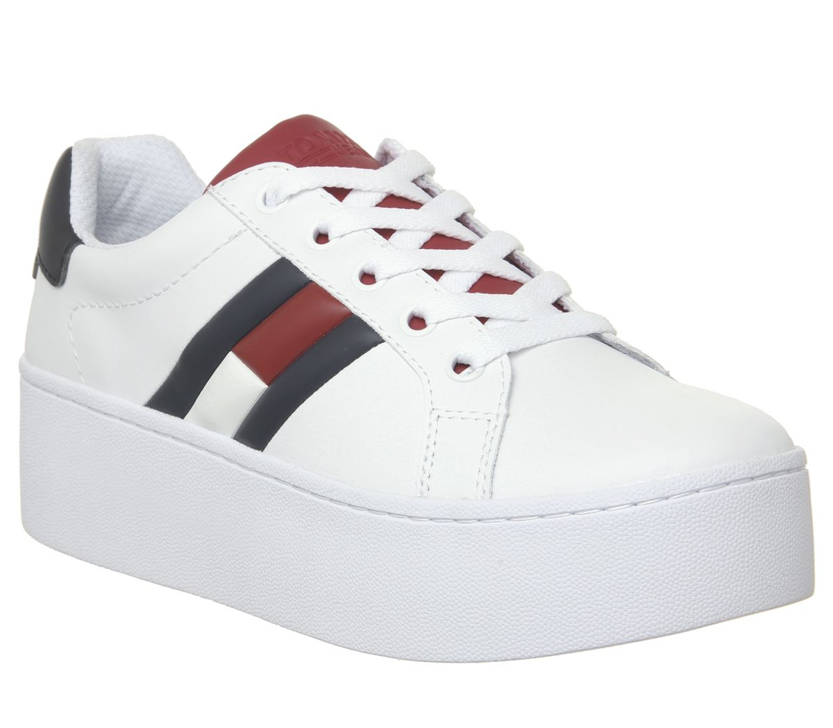 bd43137ee022 Tommy Hilfiger Flag Sneaker Platform Trainers White Red Blue - Hers ...