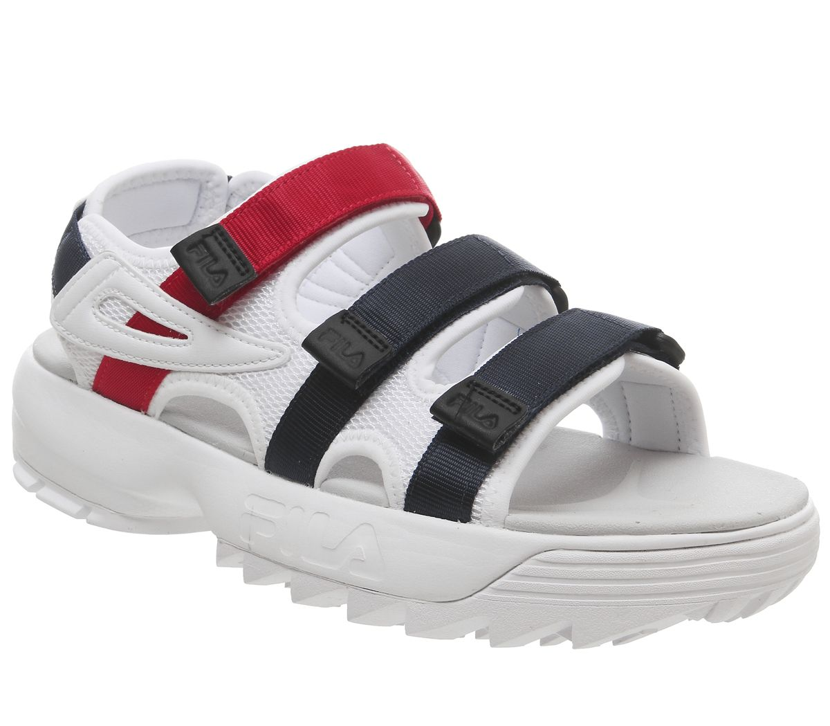 d7d44d8bb715 Fila Disruptor Sandals White Fila Navy Fila Red - Sandals