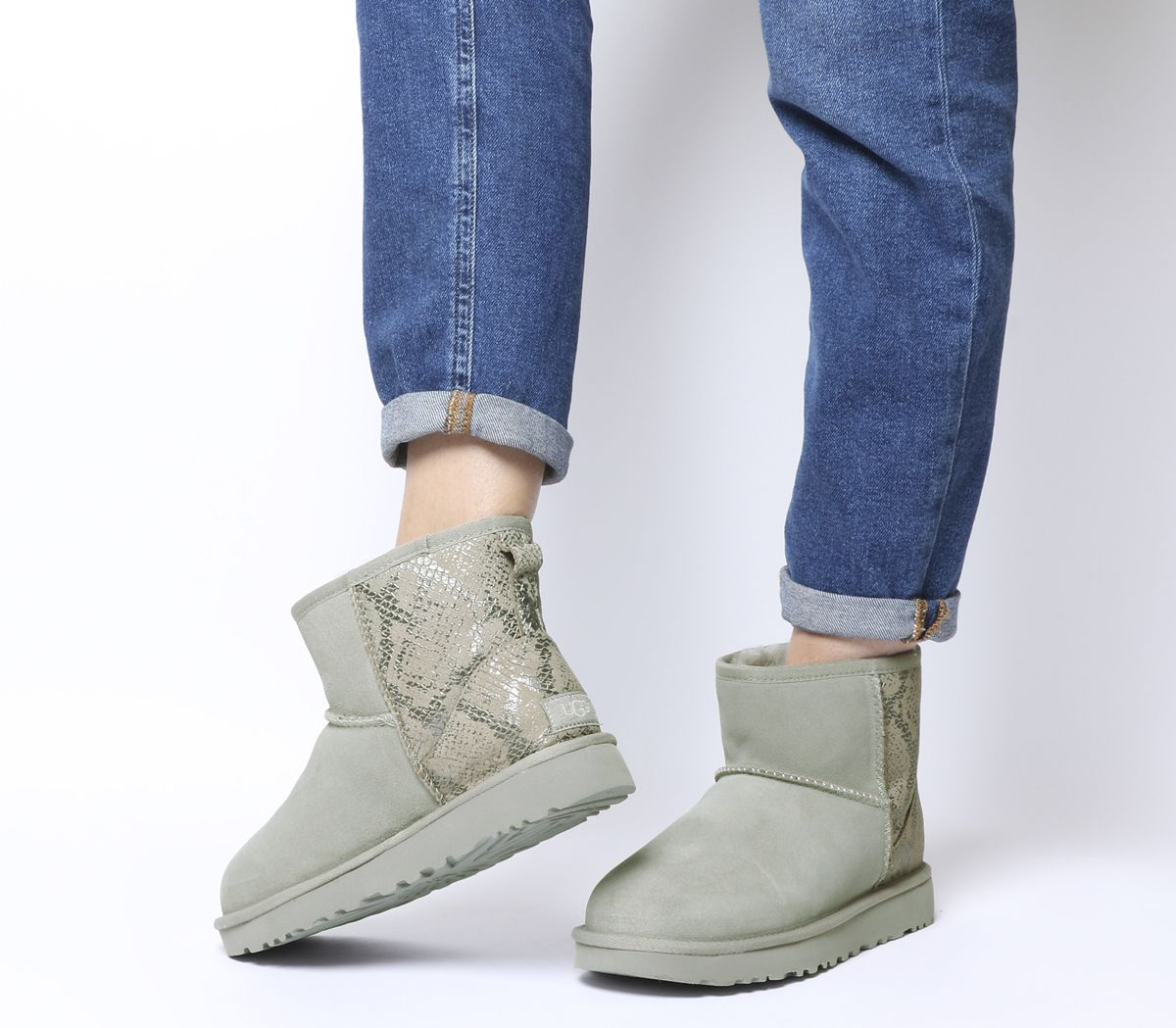a59e55c4ee1 UGG Classic Mini Metallic Snake Boots Silver - Womens Boots