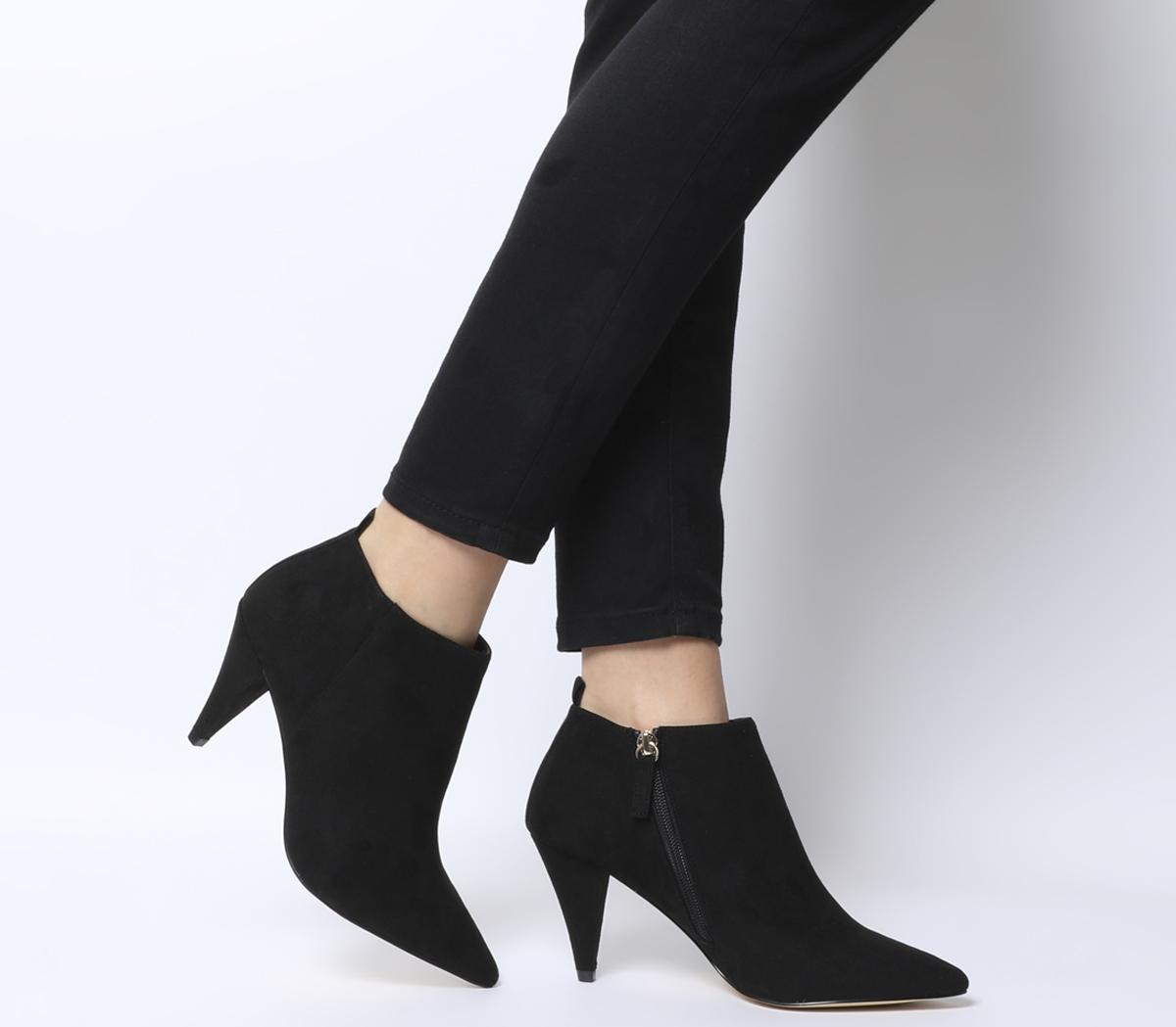 Office Mary Cone Heel Shoe Boots Black - Mid Heels