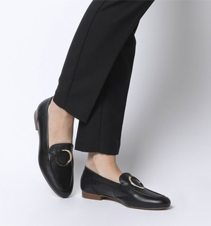 1bd6b61e1e2 23-10-2018 · Office Fainthearted Ring Detail Loafers Black Leather ...