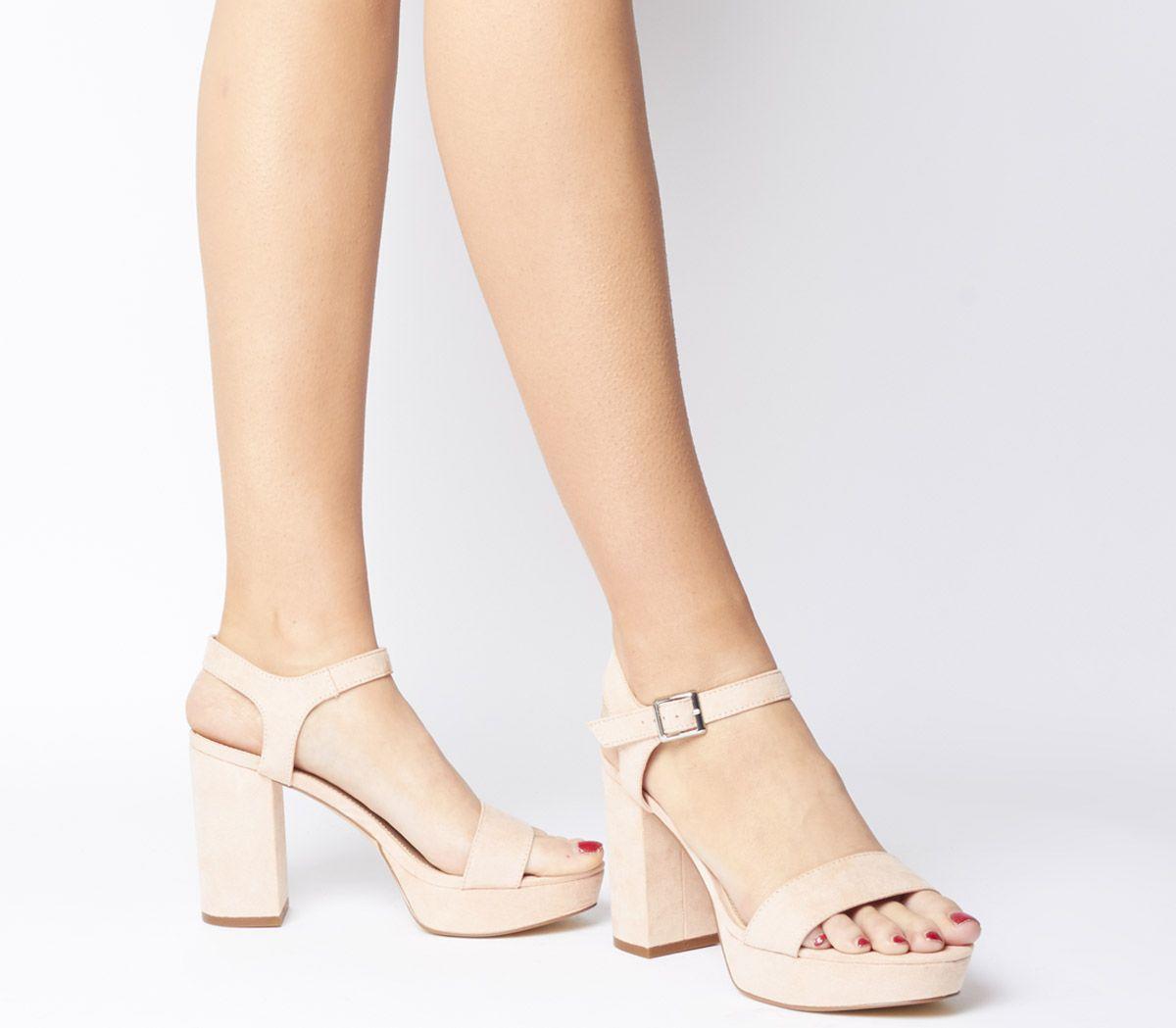 2aca7ad83e Office Must Have Platform Sandals Nude - Mid Heels