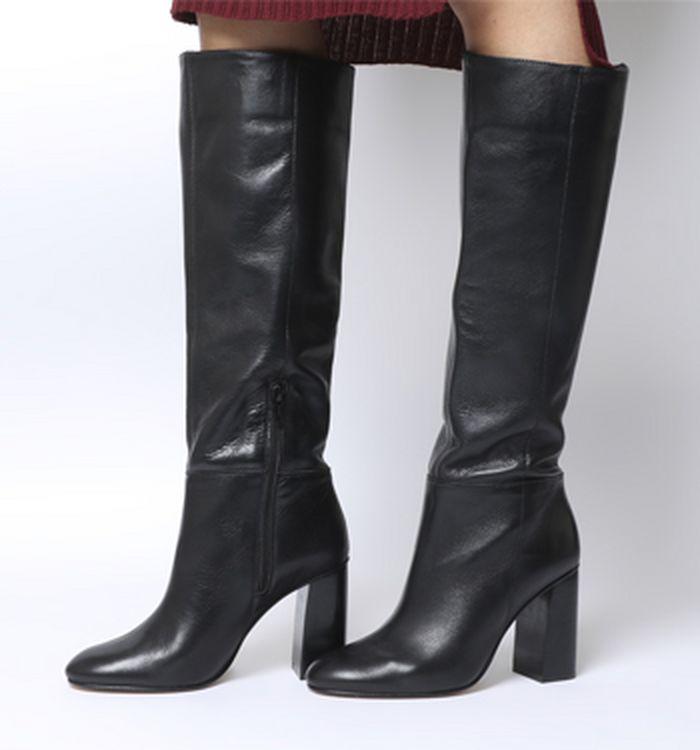 e911544a6a2 03-12-2018 · Office Koko Pull On Block Heel Boots Black Leather Shiny Heel