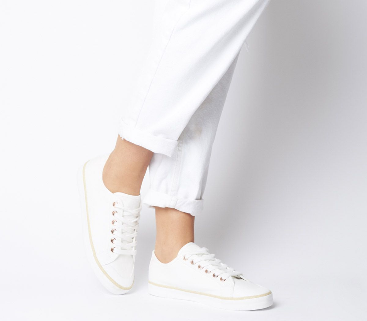 d25f8dbb9d Office Fragment Rope Rand Lace Up Trainers White Canvas - Flats
