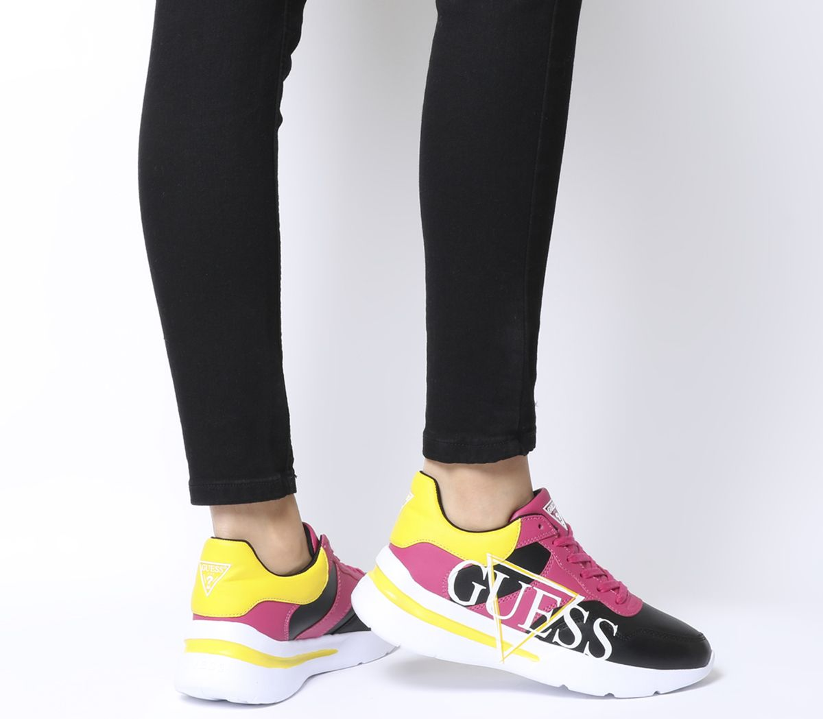 12505e5aaa39 Guess Milez Logo Sneakers Black Red Yellow Multi - Flats