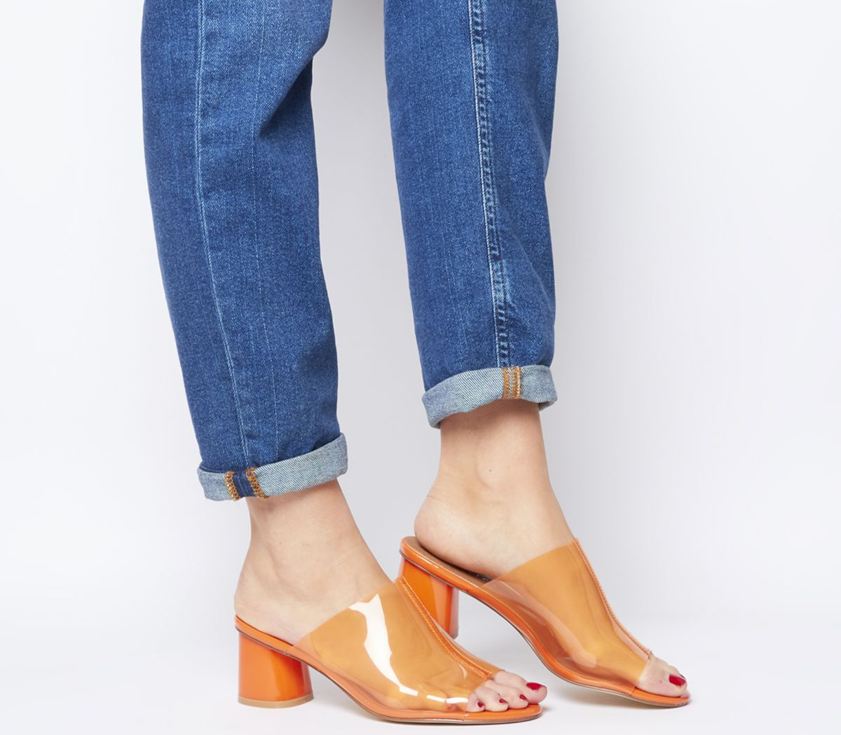 3c1d6104c92 Office O-message- Feature Heel Mule Clear Orange - Mid Heels