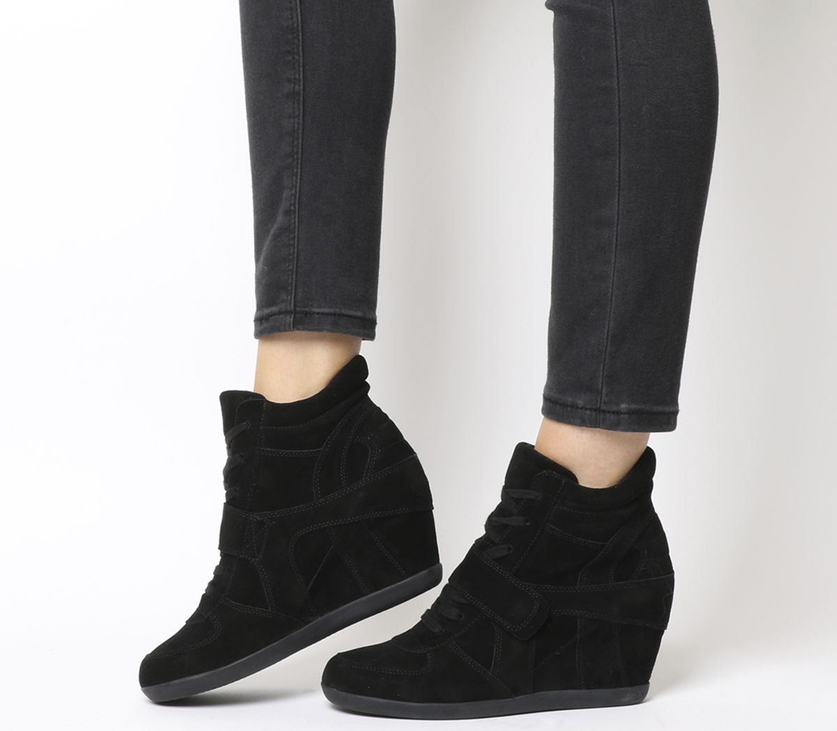 5879060e693f Ash Bowie Hi Top Wedge Sneaker Boots Black Suede - Ankle Boots