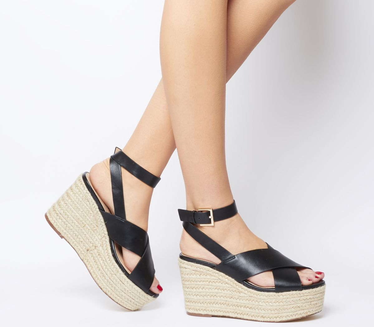 b3a97e283006 Office Medal Ankle Strap Espadrille Wedges Black - Mid Heels