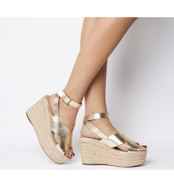 Office Medal Ankle Strap Espadrille Wedge GOLD METALLIC