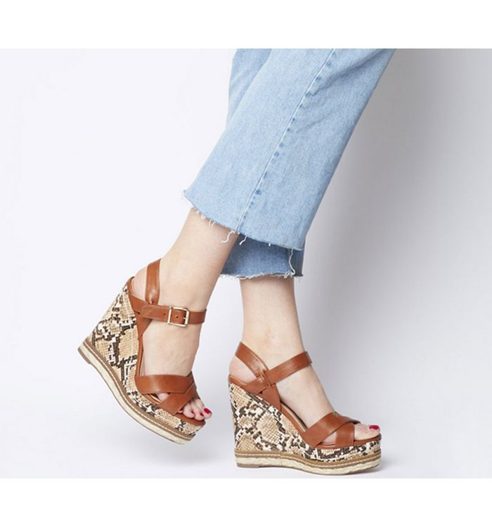 Office Halcyon Feature Wedge TAN WITH SNAKE