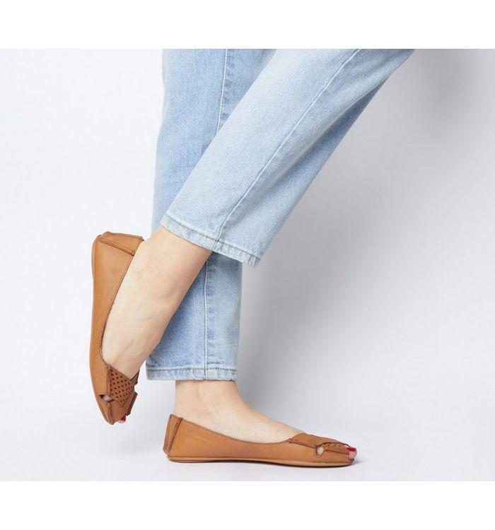 Office Felt Peep Toe Shoe TAN LEATHER