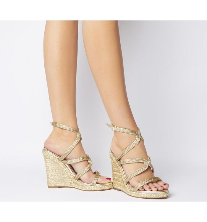 Office Honeydew Glam Strappy Wedge GOLD METALLIC