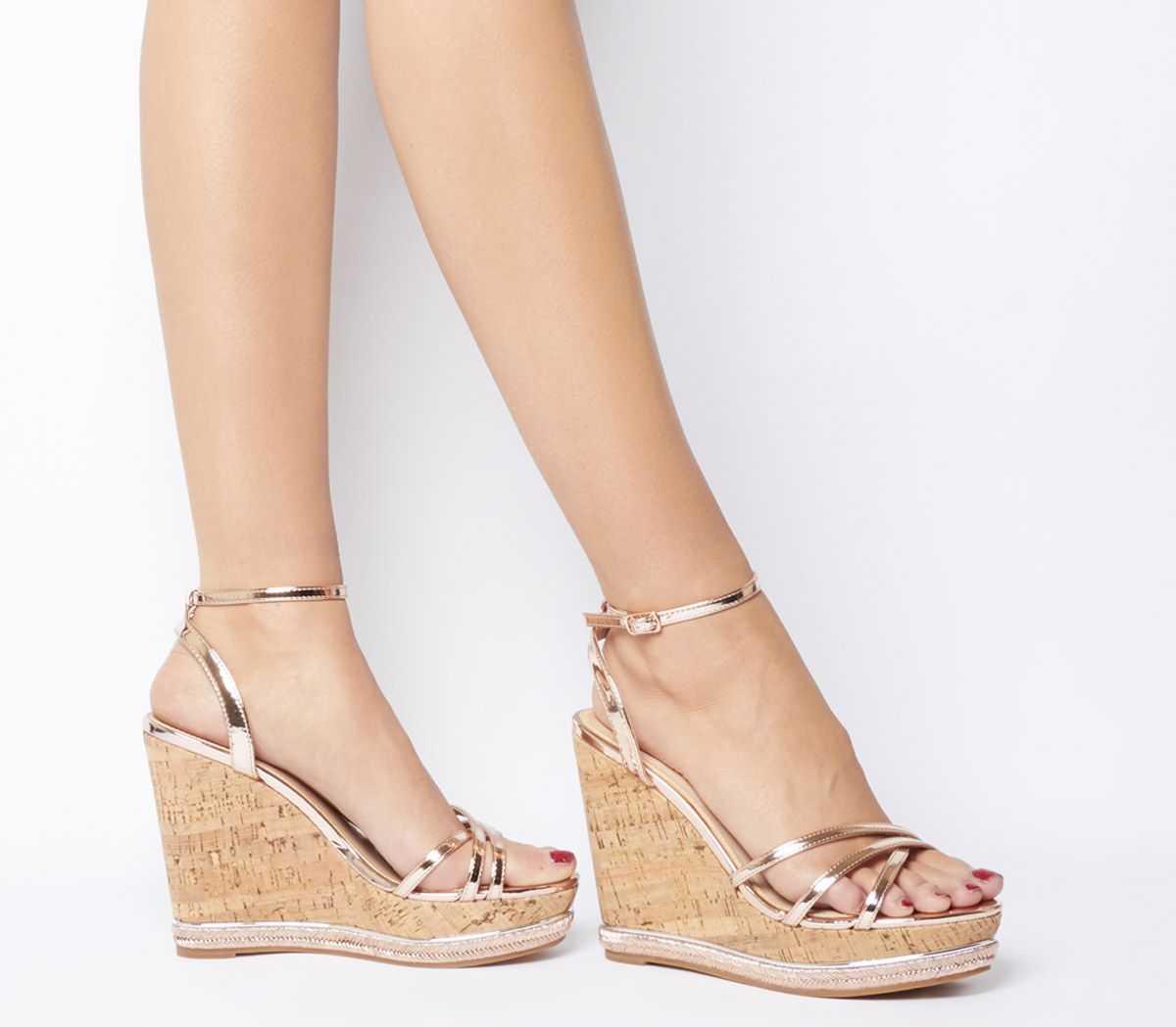 c709a830ac9c Office Honcho Strappy Glam Cork Wedges Rose Gold - High Heels