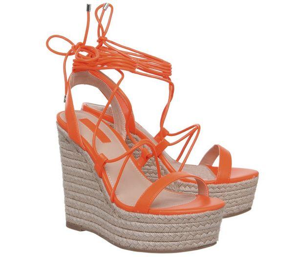 Office Hula Ghillie Chunky Wedges Fluro Orange - High Heels UzaknRE