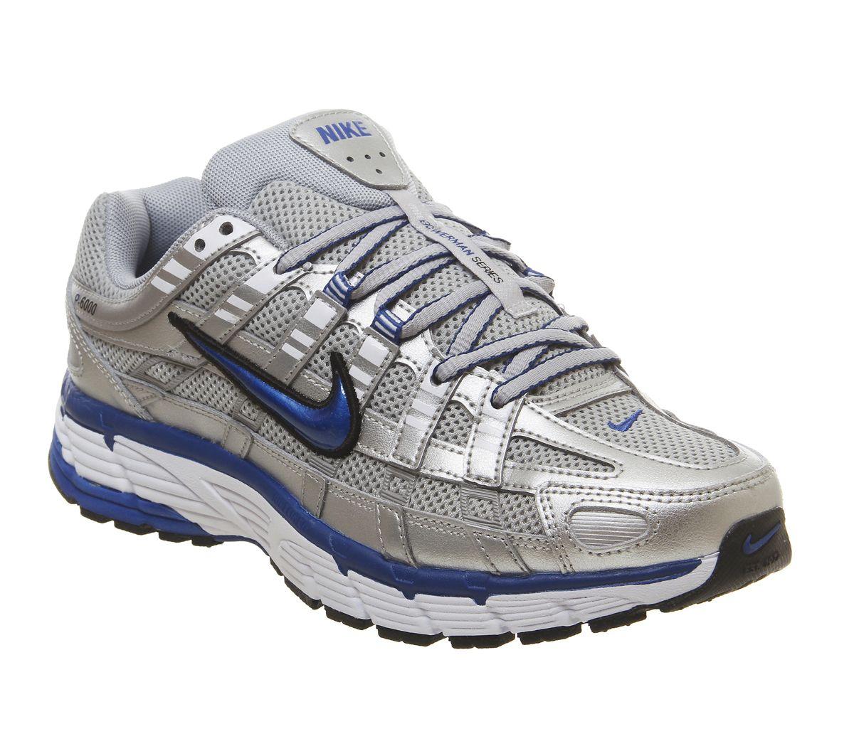 reputable site ece9e e17ae Nike, P-6000 Trainers, Metallic Silver Team Royal White